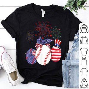 Red White Blue Baseball USA Flag Firework 4th Of July shirt