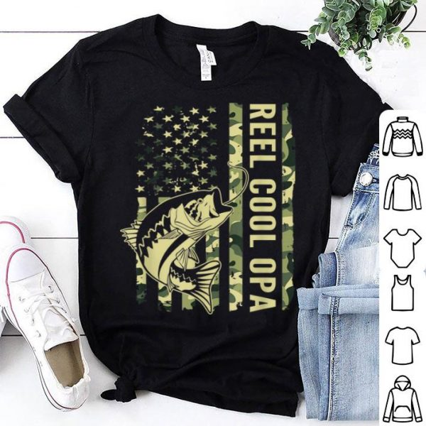 Reel Cool Opa Camouflage American Flag Father Day shirt