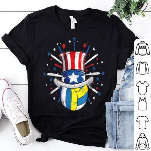 Volleyball Ball American Flag Top Hat Patriotic July 4th shirt