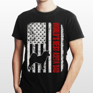World Best Akita Dad American Flag shirt
