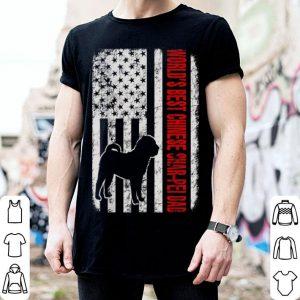 World Best Chinese Sharpei Dad American Flag shirt