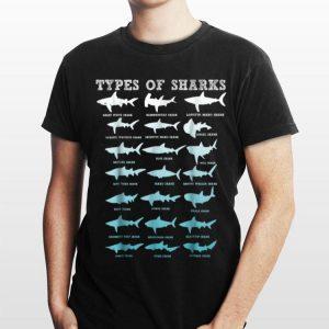 21 Types of Sharks Marine Biology shirt