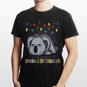 Embrace Differences Sassy Koala Autism Awareness shirt