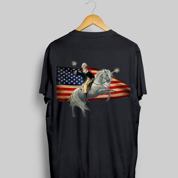 George Washington Take A Wand Riding Unicorn 4th Of July Independence Day American Flag shirt