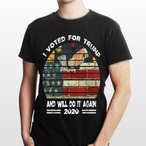 I Voted For Trump And Will Do It Again 2020 Build American Wall shirt
