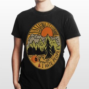 Love Camping I Hate People Circle shirt