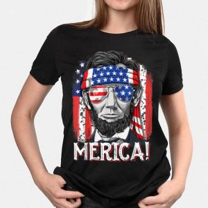 Merica Ahbraham Lincoln 4th of July American Flag Headband Sunglass Independence Day shirt