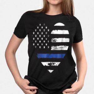Thin Blue Line Heart American Flag shirt
