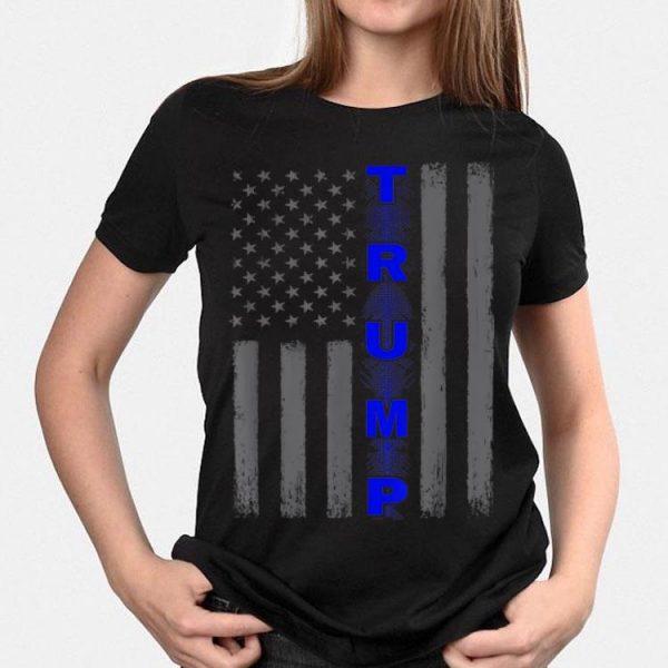 Thin blue line Trump American flag shirt