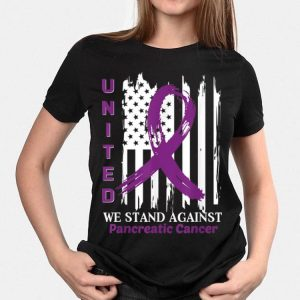 United we stand against Pancreatic Cancer American Flag shirt