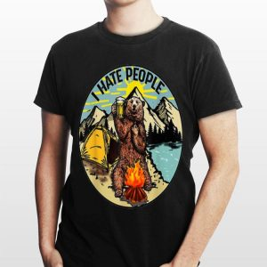Bear Camping I Hate People Drinking Beer shirt