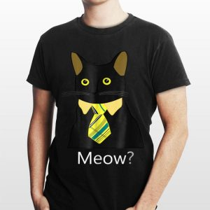 Black Business Cat Kitten with Yellow Tie Meow shirt