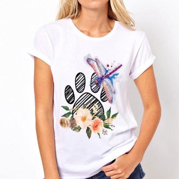 Dragonfly Paw Dog Flower shirt