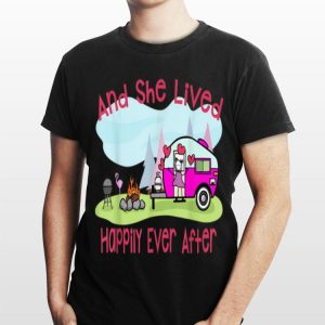 Flamingo And She Lived Happily Ever After Love Camping shirt