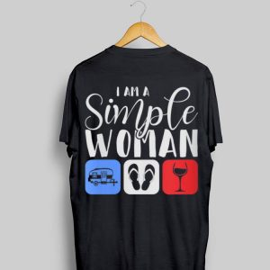 I Am A Simple Woman Camping Flip Flop Wine shirt