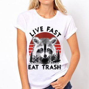 Live Fast Eat Trash Raccoon Sunset shirt