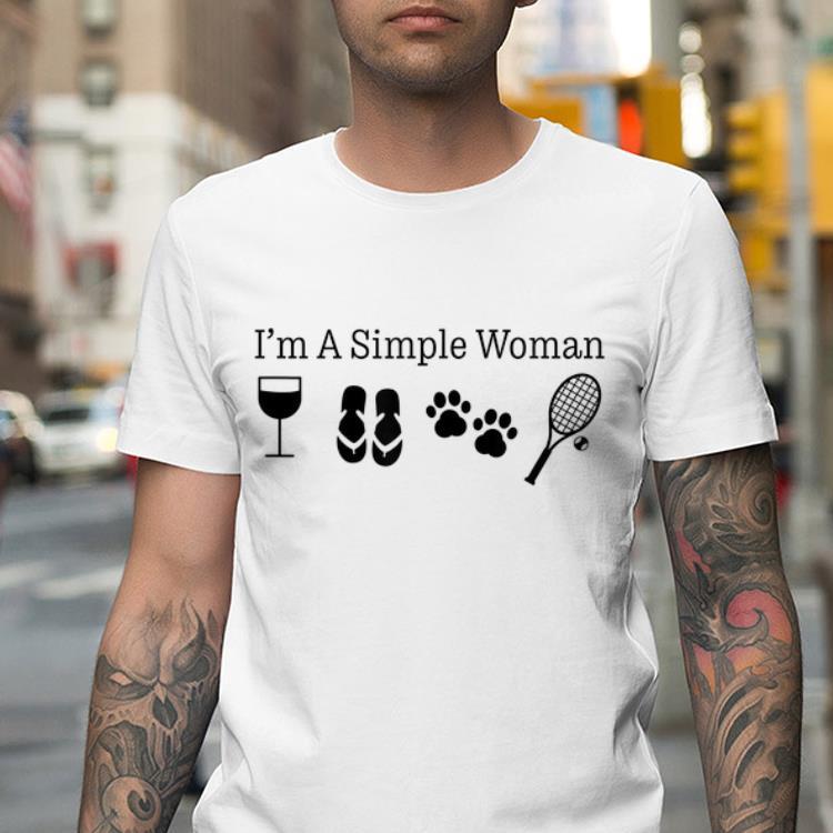 Mock2T - I'm A Simple Woman Wine Flip Flops Dog Paw Tennis shirt