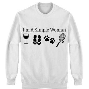 I'm A Simple Woman Wine Flip Flops Dog Paw Tennis shirt 2
