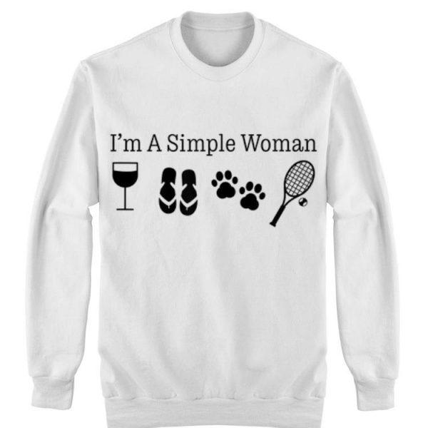 I'm A Simple Woman Wine Flip Flops Dog Paw Tennis shirt