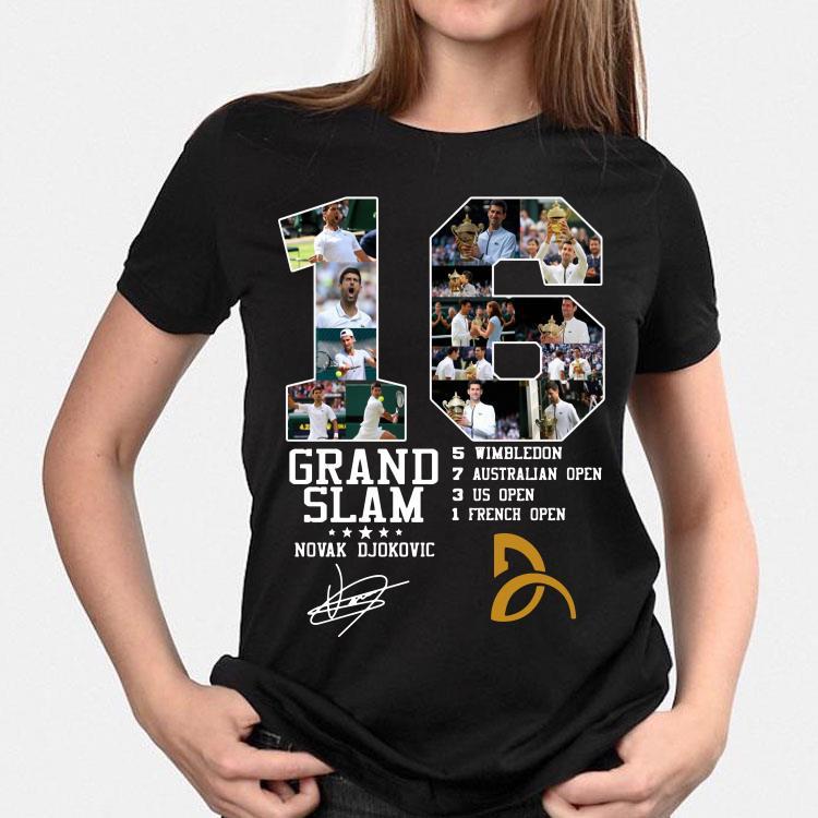16 Grand Slam Novak Djokovic Signature Shirt Hoodie Sweater Longsleeve T Shirt