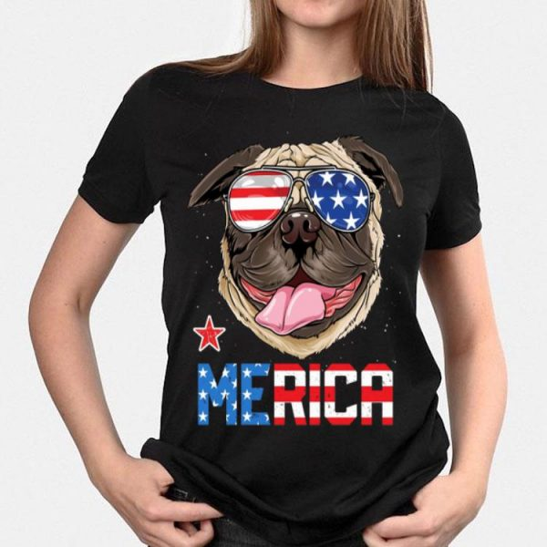 4th July Independence Day American Flag Sunglass Pug Merica shirt