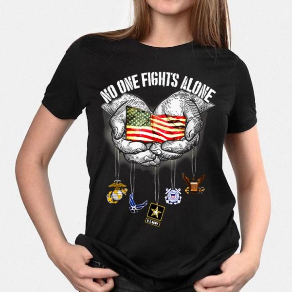 America Marine Corps Air Force Us Army Chatham Lighthouse No One Fights Alone shirt
