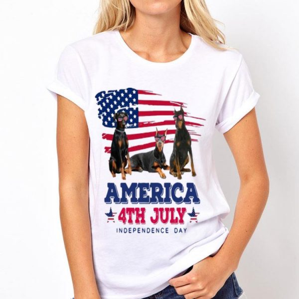 American Flag 4th July Independence Day Doberman Pinscher shirt