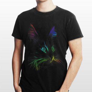 Black Cat Face Graphic Color shirt