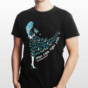 Hope Faith Fight Love Butterfly Ovarian Cancer shirt