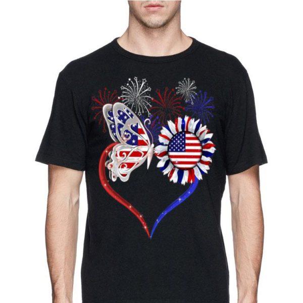 Love Sunflower American Flag Fireworks Butterfly shirt