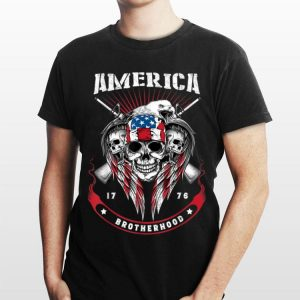 America Brotherhood 1976 Guns and Skulls Patriotic shirt
