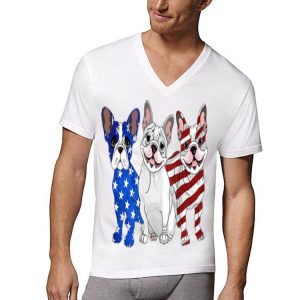 American Flag French Bulldog Red White And Blue shirt