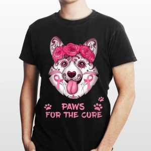 Breast Cancer Awareness Corgi Paws For The Cure shirt