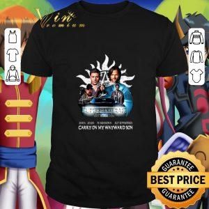 Cool Supernatural 2005-2020 15 Seasons Carry On My Wayward Son shirt