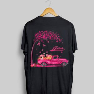 Flamingo Truck Pumpkin In October We Wear Pink Breast Cancer Awareness shirt