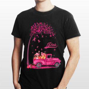Flamingo Truck Pumpkin In October We Wear Pink Breast Cancer Awareness shirt