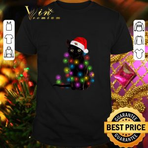 Hot Black cat Christmas lights shirt