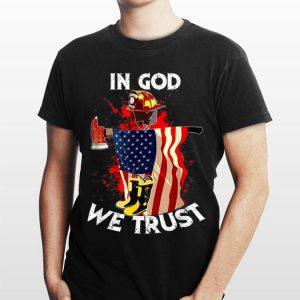 In God We Trust Firefighter Christian American Flag shirt