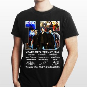 15 Years Of Supernatural 2005 - 2020 15 Seasons 327 Episodes Thank You For The Memories Signatures shirt