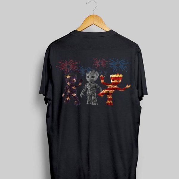 3 Baby Groot American Flag Firework shirt