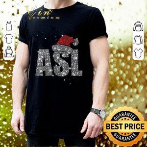 Awesome Glitter ASL Santa hat Christmas shirt 2