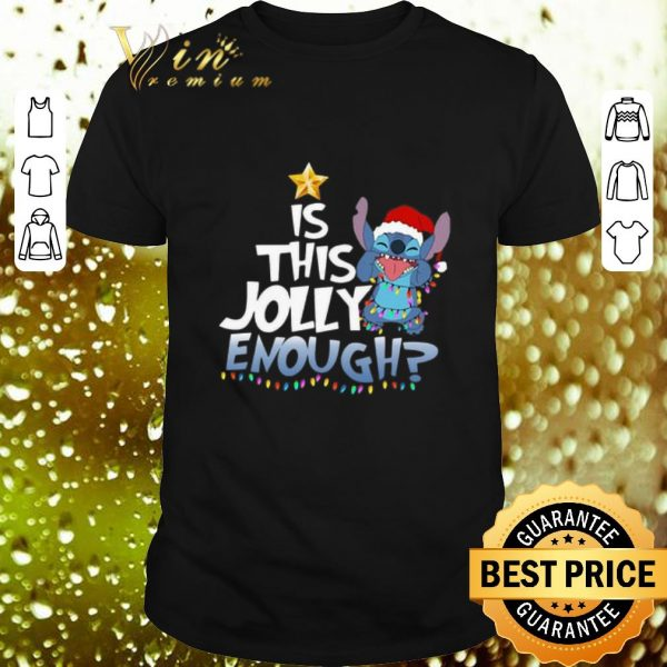 Awesome Stitch Santa is this Jolly enough Christmas lights shirt