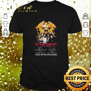 Best 50th anniversary 1970-2020 Queen Freddie Mercury Thank you for the memories shirt