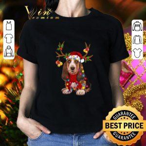 Best Basset Hound santa reindeer Christmas shirt