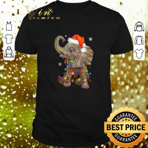 Best Elephant santa Christmas light shirt