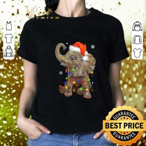 Best Elephant santa Christmas light shirt 1
