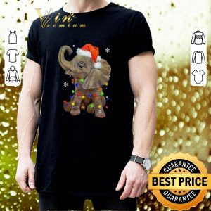 Best Elephant santa Christmas light shirt 2