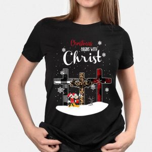 Christmas Begins With Christ Minnie And Mickey Mouse Cross shirt