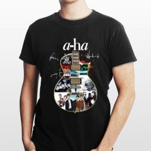 Guitar A-Ha signatures shirt