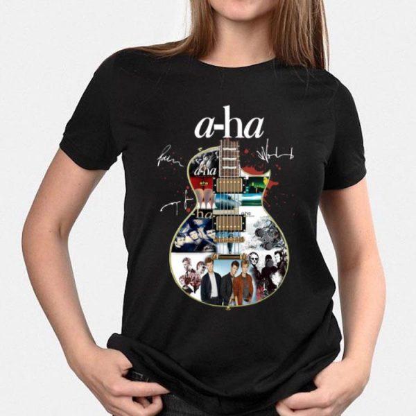 Guitar A-Ha signatures shirt